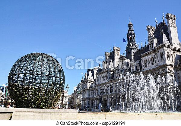 Paris City Hall (Hotel de Ville) - csp6129194