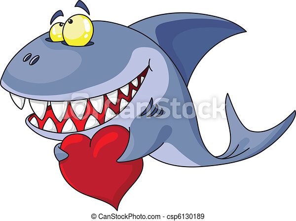 shark and heart - csp6130189