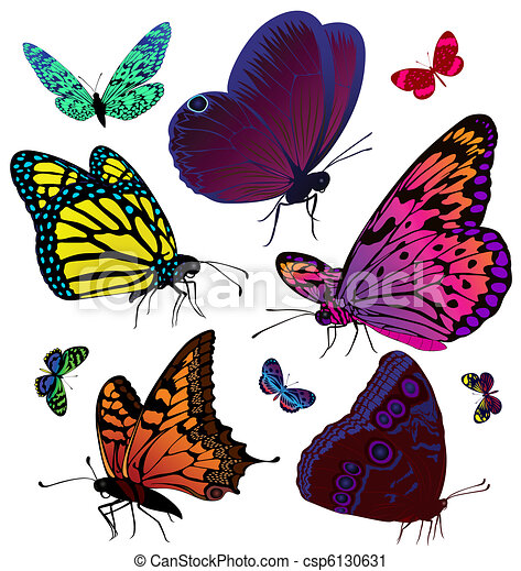 Set of color butterflies of tattoos - csp6130631