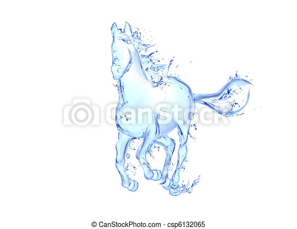 Galloping horse liquid artwork - Animal figure in motion made of water with falling drops - csp6132065