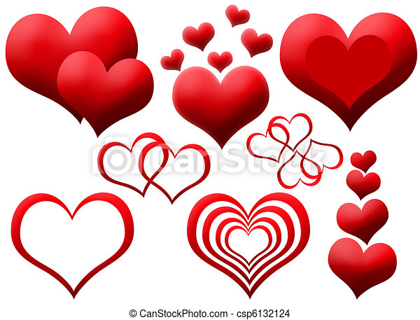 Clipart of red hearts - csp6132124