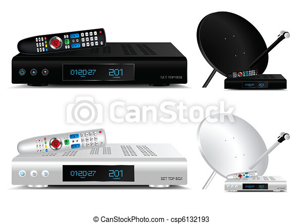 Set top box and dish antenna vector - csp6132193