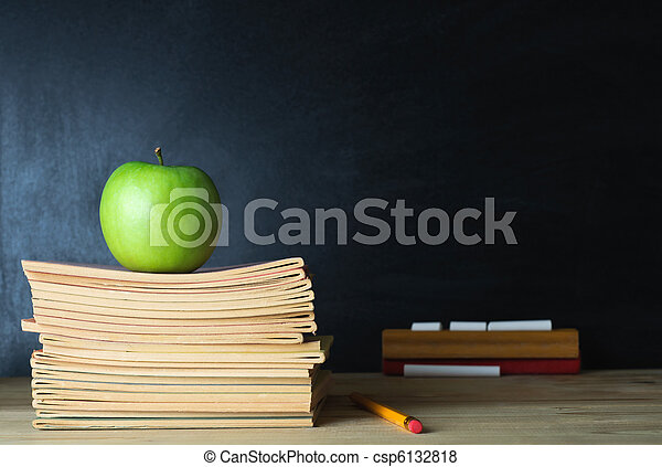 School Blackboard and Teacher's Desk - csp6132818