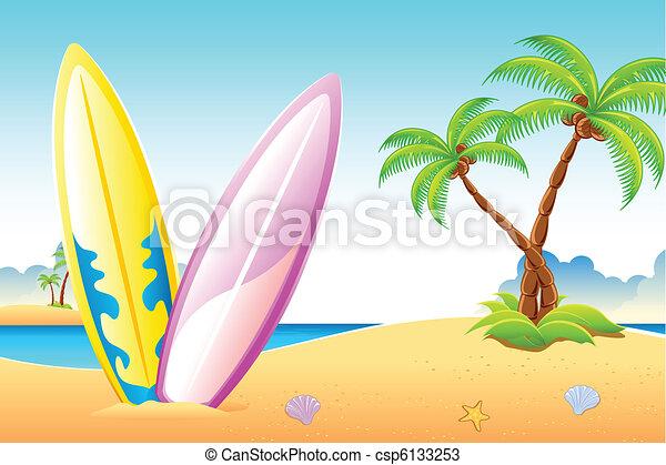 Surf Board on Sea Beach - csp6133253