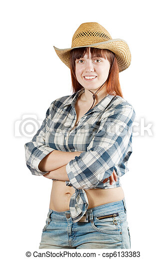 Happy pastoral  woman - csp6133383