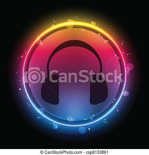 Disco Headphones with Neon Rainbow Circle - csp6133861