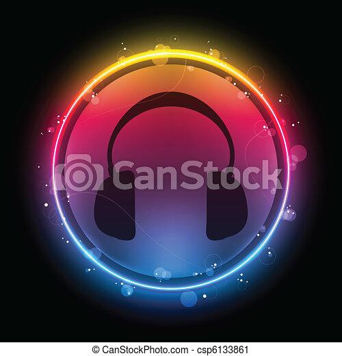 Disco Headphones with Neon Rainbow Circle - csp6133861