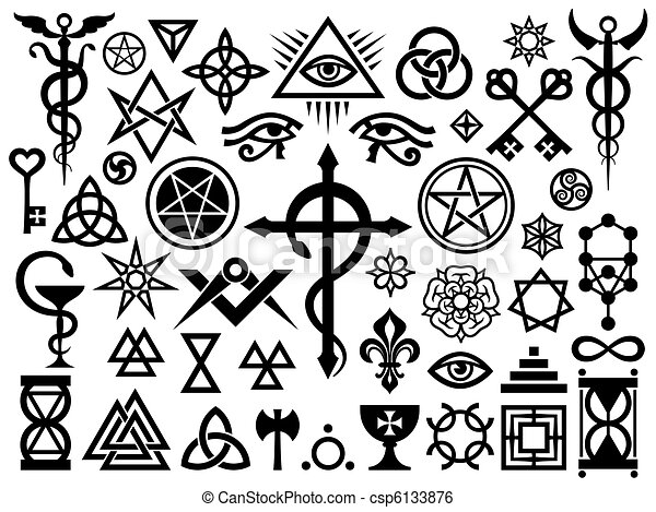 Medieval Occult Signs And Magic Stamps - csp6133876