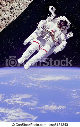 astronaut floating in space - csp6134343