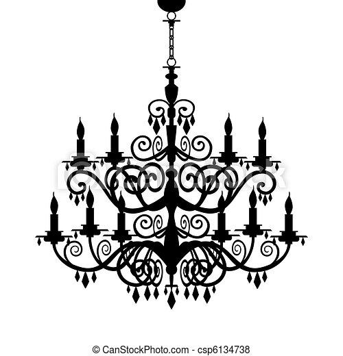 Baroque chandelier silhouette - csp6134738