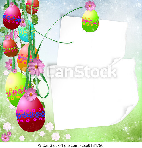 Spring or Easter background with Colorful easter eggs and flowers  hanging on ribbons  - csp6134796