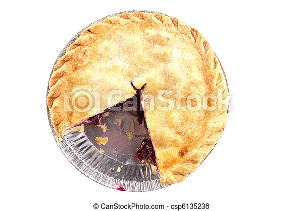 Cherry pie missing a slice - csp6135238