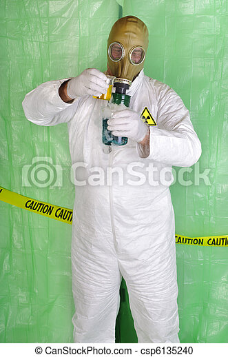 chemical engineer, or biological scientist handling hazardous material in clean room environment - csp6135240