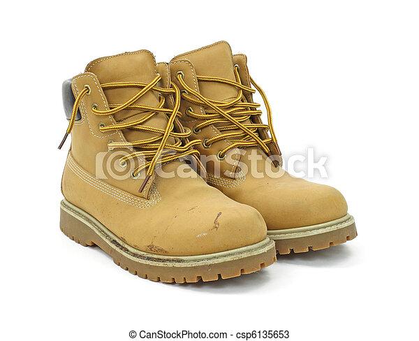 Worn work boots - csp6135653