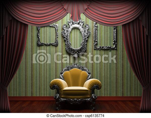 Red velvet curtain opening scene  - csp6135774