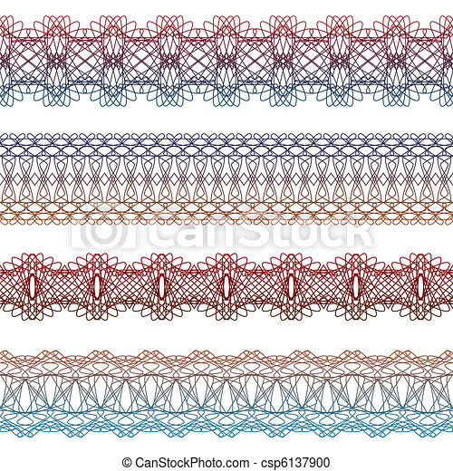 set of borders seamless elements for certificates, awards, coupons, etc. - csp6137900