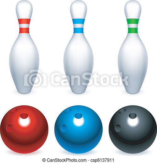 Bowling balls and pins. - csp6137911