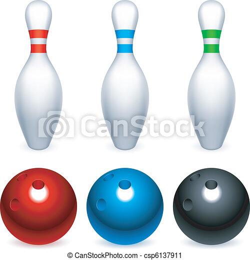 Bowling balls and pins. - csp6137911
