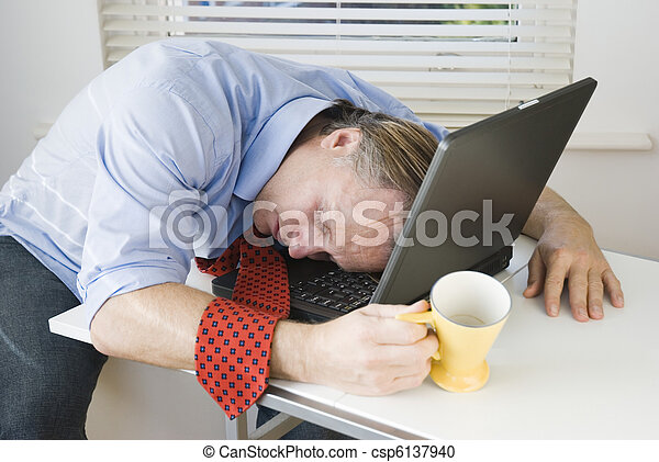 Exhausted businessman - csp6137940