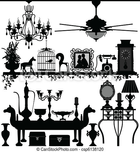 Antique Home Decoration Furniture   csp6138120. Vector Clipart of Antique Home Decoration Furniture   A set of