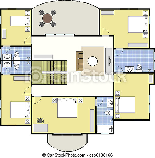 Clip art vecteur de maison architecture floorplan plan for Dessin plan architecture