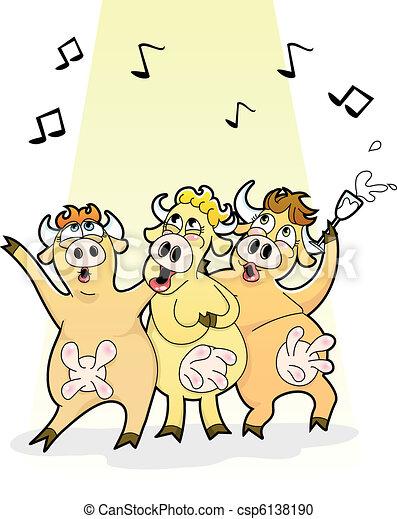 Vektor clipart von k he singende lustiges karikatur for Meine wohnung click design download