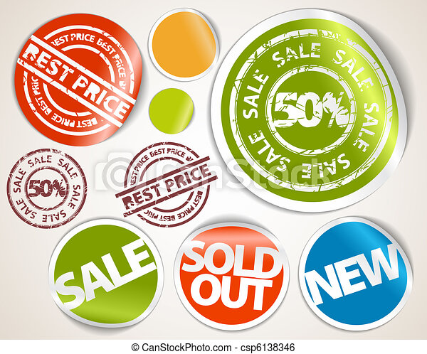 Set of labels and stickers - sale and best price - csp6138346