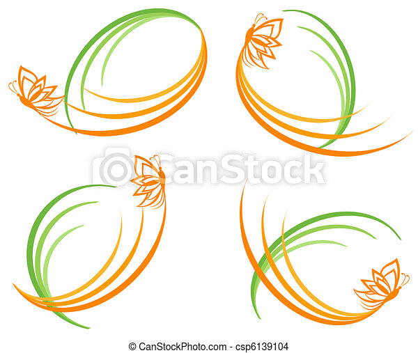 vector illustration of a set of a green waves with orange butterfly. Can be used as logo. - csp6139104
