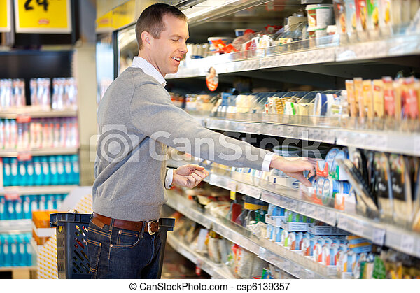 Man Shopping in Grocery Store - csp6139357