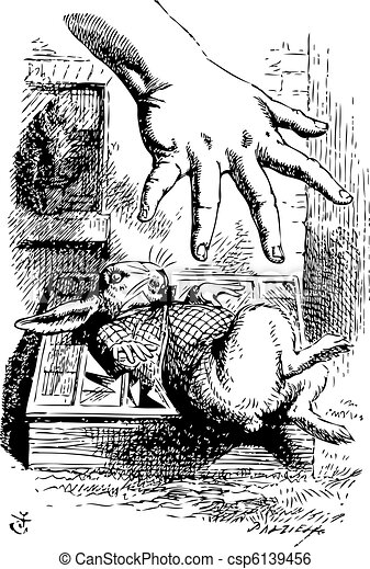 Alice stretches her hand and tries to grab the White Rabbit - csp6139456