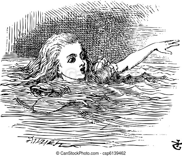 Alice in Wonderland. Alice Swimming in her pool of giant tears, up to her chin in salt water. Alice's Adventures in Wonderland. Illustration from John Tenniel, published in 1865. - csp6139462