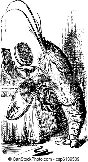 Lobster primping before a mirror - Alice's Adventures in Wonderl - csp6139509