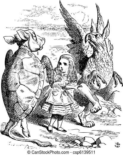 Vector Clip Art of The Lobster Quadrille - Alice's Adventures in Wonderland... csp6139511 ...