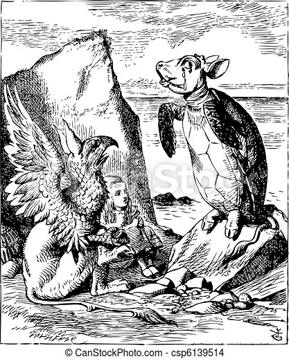 The Mock Turtle and Gryphon sing to Alice - Alice's Adventures in Wonderland original vintage engraving. Illustration from John Tenniel, published in 1865. - csp6139514
