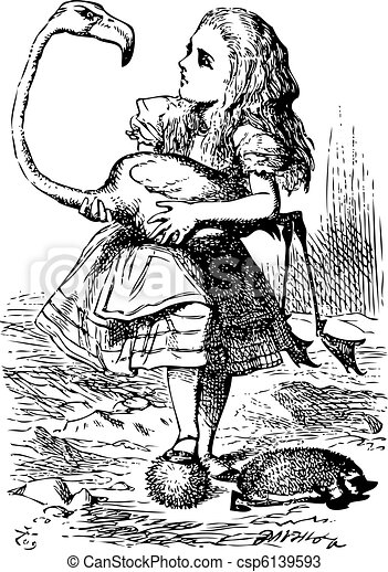 Alice trying to play croquet with flamingo and hedgehog - Alice's Adventures in Wonderland original vintage engraving. The chief difficulty Alice found at first was in managing her flamingo... - csp6139593
