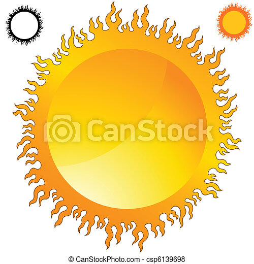 Fiery Sun Icon Set - csp6139698