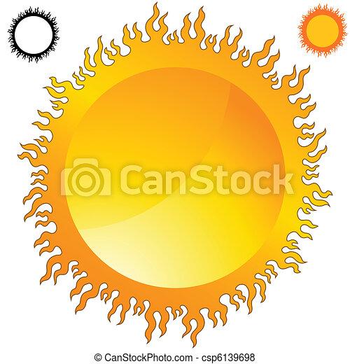 Fiery Sun Icon Set - csp6139698
