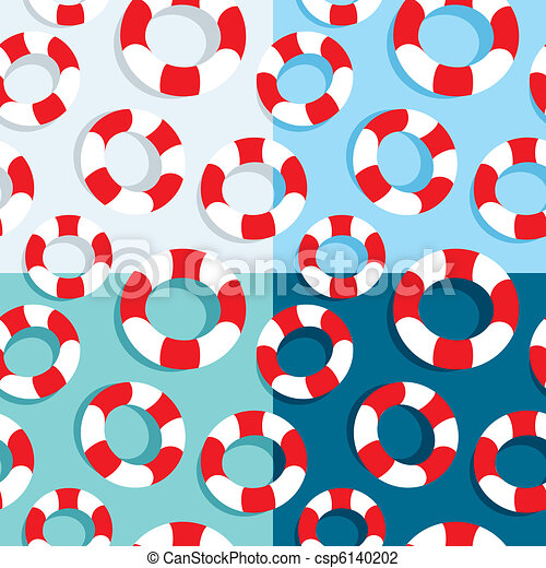 Seamless pattern of life buoys - csp6140202