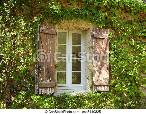 French Farmhouse Window & Shutters - csp6140825
