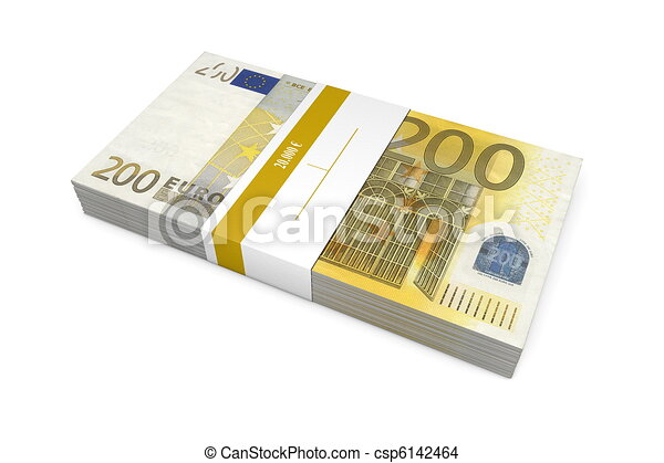 Packet of 200 Euro Notes with Bank Wrapper - csp6142464