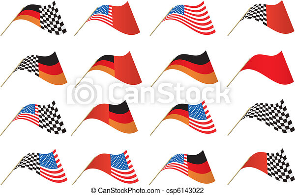 USA, German and Checkered Flags - csp6143022