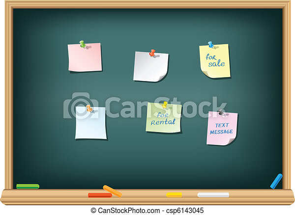 paper and pushpin on the blackboard - csp6143045