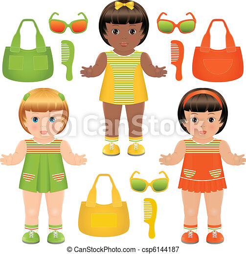 Set of girls dolls with accessories - csp6144187