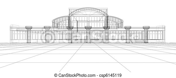 abstract sketch of office building csp6145119 abstract 3d office building
