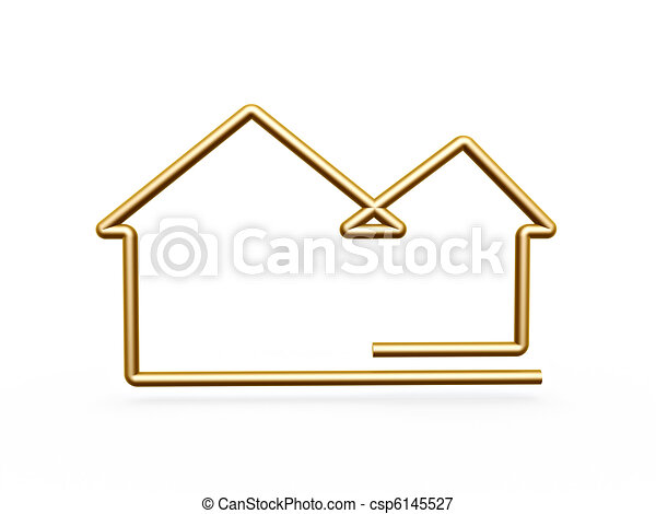 Stock Illustrations of 3d gold line house symbol - gold ...