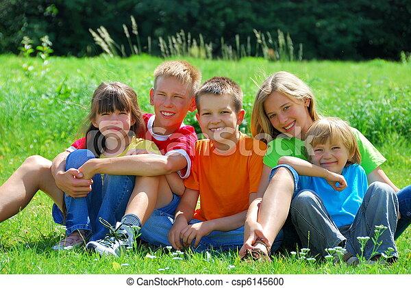 Happy Kids in a Meadow