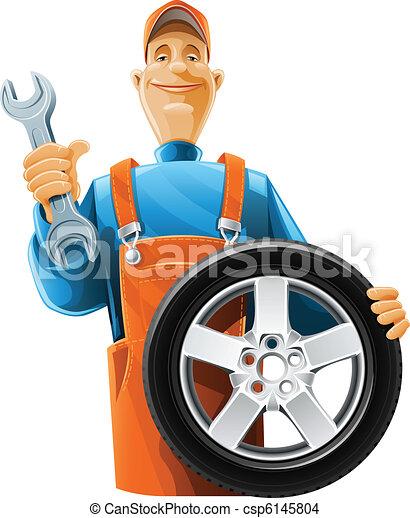 auto mechanic with wheel - csp6145804