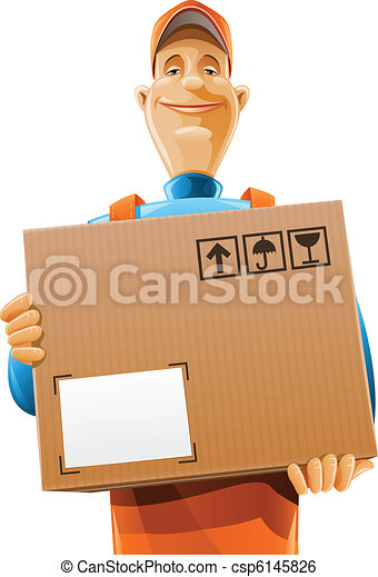 delivery service man with box - csp6145826