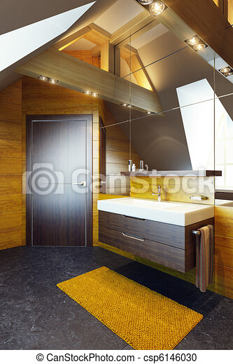 Modern interior design of a bathroom - csp6146030