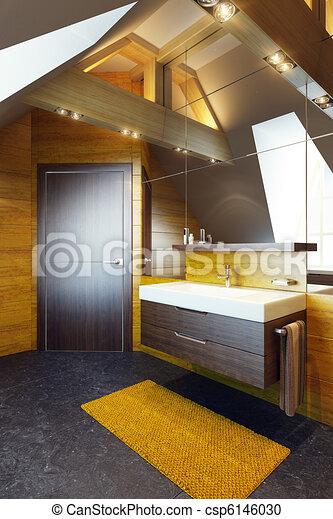 Modern interior design of a bathroom - csp6146030